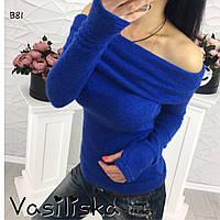 Красивая синяя женская кофта из ангоры ан-10688-1