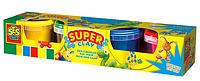 Незасыхающая масса для лепки КЛАССИК NEW 4 цвета, в пластиковых баночках Ses (0465S)