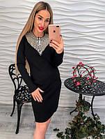 Женское стильное прямое платье с декором из страз (3 цвета)