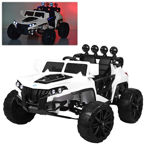 Детский электромобиль Hummer M 3599 белый, кожа, амортизаторы, двери, багажник, EVA, ручка-чемодан