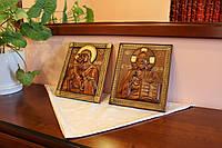 Венчальные иконы резные из дерева патинированные золотом в подарок новобрачным, фото 1