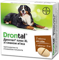 Дронтал против гельментов для собак крупных пород, 2 таб. в упаковке