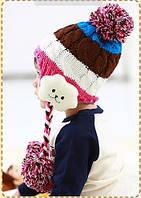 Шапка зимняя детская с помпоном для девочки