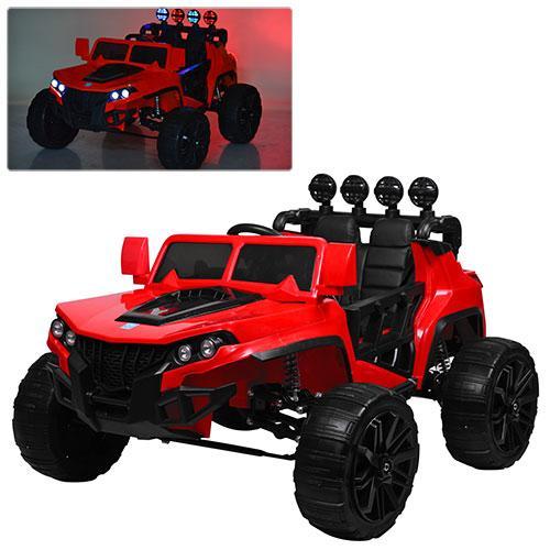 Детский электромобиль Hummer M 3599 красный, кожа, амортизаторы, двери, багажник, EVA, ручка-чемодан