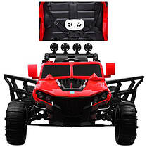 Детский электромобиль Hummer M 3599 красный, кожа, амортизаторы, двери, багажник, EVA, ручка-чемодан, фото 2