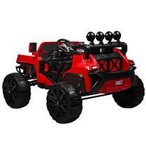 Детский электромобиль Hummer M 3599 красный, кожа, амортизаторы, двери, багажник, EVA, ручка-чемодан, фото 3