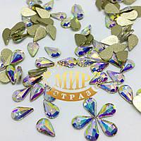 Стразы для инкрустации, Капля, цвет Crystal AB, размер 5х8 мм, цена за 1шт