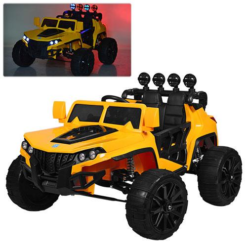 Детский электромобиль Hummer M 3599 желтый, кожа, амортизаторы, двери, багажник, EVA, ручка-чемодан