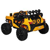 Детский электромобиль Hummer M 3599 желтый, кожа, амортизаторы, двери, багажник, EVA, ручка-чемодан, фото 3