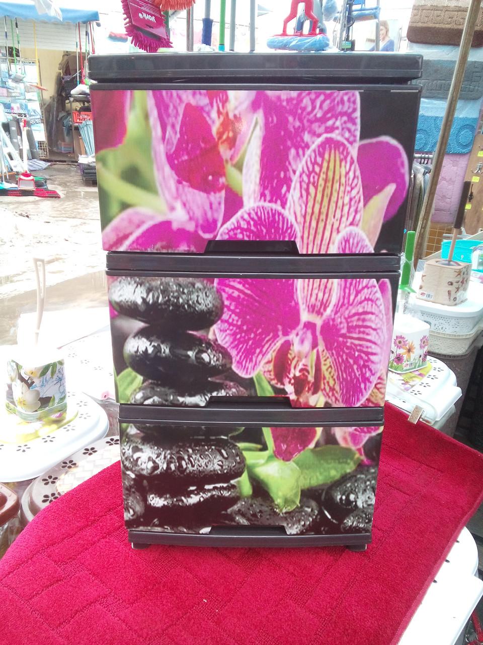 """Комод на 3 ящика с декором """"орхидея""""  Алеана"""
