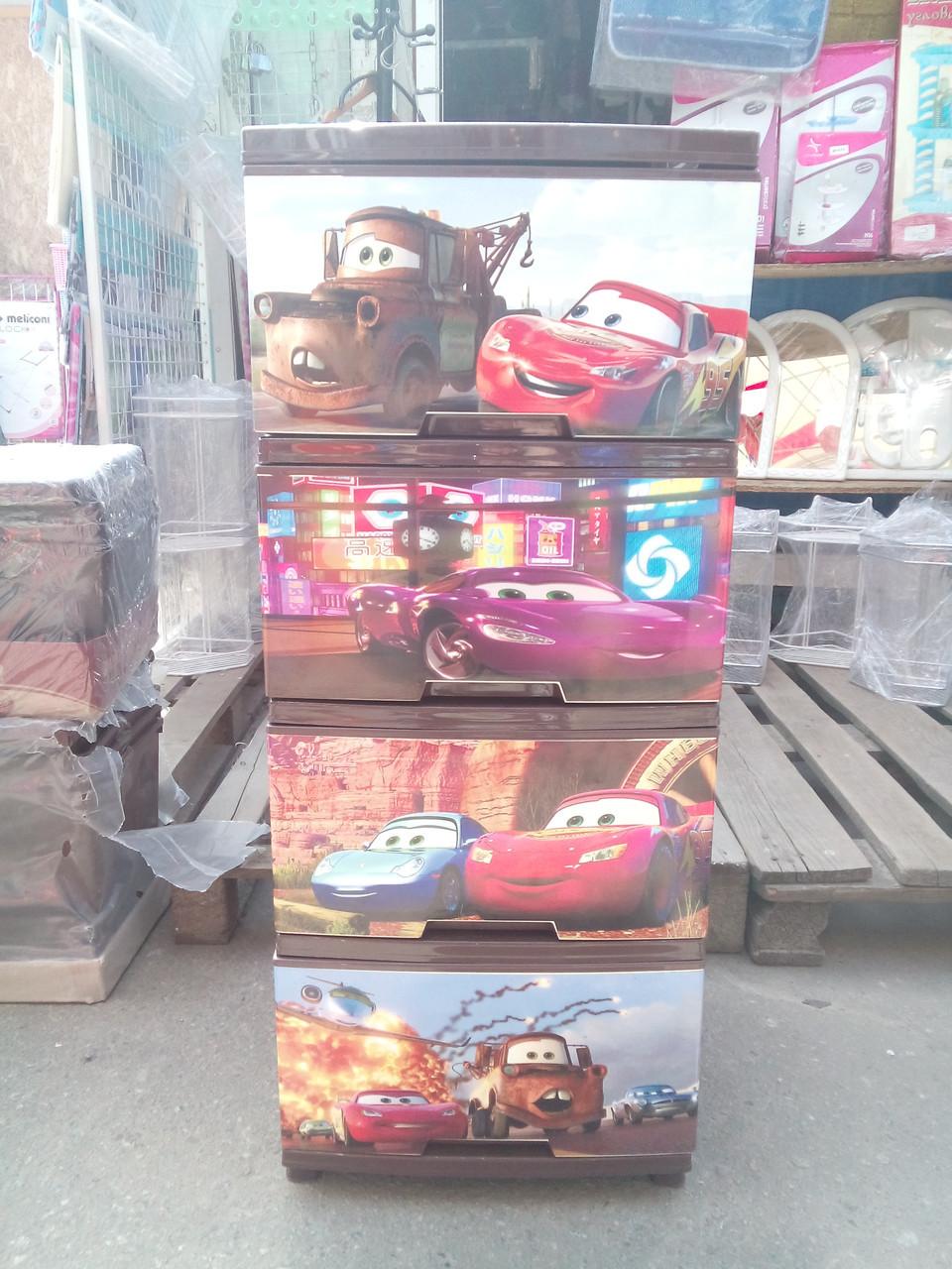 """Комод на 4 ящика с декором """"Тачки""""  Алеана"""