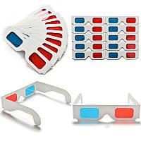 10х картонные 3D очки, анаглифные стерео очки (10 штук в наборе)
