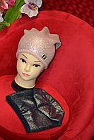 Тёплая, серая женская шапка