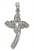 Крестик фирмы Xuping, цвет: серебряный.Камни: белый циркон. Высота крестика: 3,5 см. Ширина: 20 мм