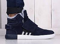 Зимние мужские кроссовки (адидас) Adidas tubular invader Navy (реплика)