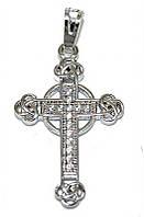 Крестик фирмы Xuping, цвет: серебряный.Камни: белый циркон. Высота крестика: 3,3 см. Ширина: 17 мм