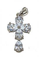 Крестик фирмы Xuping, цвет: серебряный.Камни: белый циркон. Высота крестика: 3 см. Ширина: 15 мм
