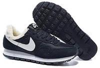 Мужские зимние кроссовки Nike Internationalist Winter (Найк) с мехом синие