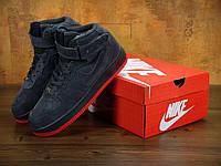 Зимние кроссовки мужские Nike Air Force Winter Gray/Red Реплика