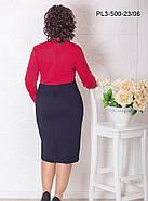 Женское трикотажное полуприлегающее платье / размер 52 / цвет  красный+синий, фото 2