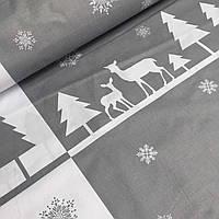 Ткань новогодняя для постели с серо-белым узором №762