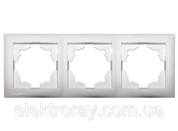 Рамка потрійна Luxel Primera біла, фото 2