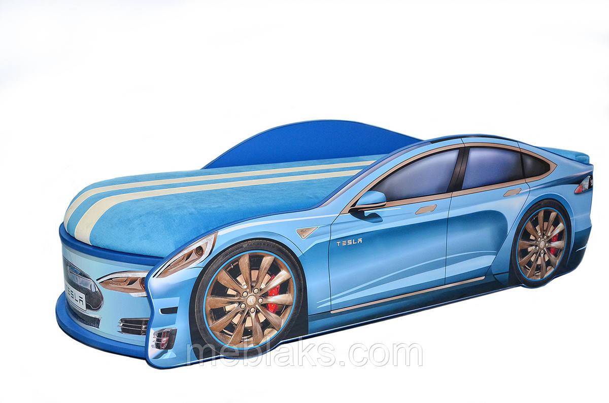 Кроватка машина Тесла синяя Mebelkon