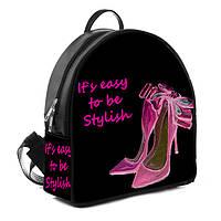 Стильный женский черный рюкзак с принтом Туфельки