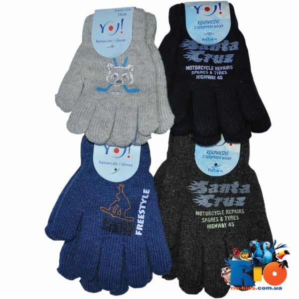 Детские вязаные перчатки (Польша), на махре, для детей 16 р (12 ед в уп)