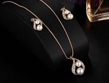 Комплект сережки з підвіскою Primo Pearls