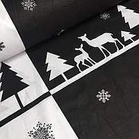 Ткань новогодняя для постели с черно-белым узором №763