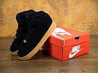Зимние кроссовки мужские Nike Air Force Winter Black/Gum Реплика
