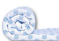 Плед-покрывало в горохи хлопок цвет: молоко+голубой размер: 220х190.