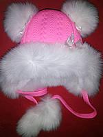 Детская зимняя шапка с помпонами