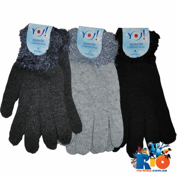 Детские вязаные перчатки, травка, для детей 21 р-р (12 ед в уп)