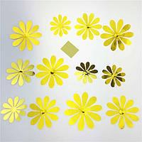 Зеркальные наклейки золотые цветы 12шт набор