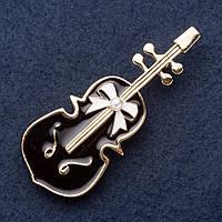 """Брошь """"Скрипка в подарок"""" 6х2,5см черная эмаль, желтый металл"""