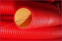 Двустенные гибкие гофрированные трубы из полиэтилена, цвет красный, d75, с протяжкой