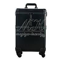 Большой чемодан  для косметики, раскладной на колесах, черный матовый , фото 1