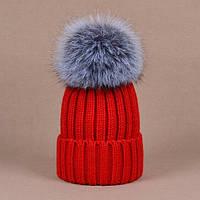 Женская  модная шапка с огромным бубоном из натурального меха чернобурки(3 цвета)