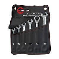 Набор комбинированных ключей с трещеткой 6ед., 8-19мм Cr-V Intertool XT-1301