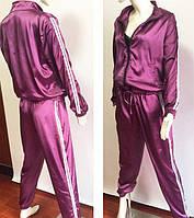 Атласный спортивный костюм фиолетовый, фото 1