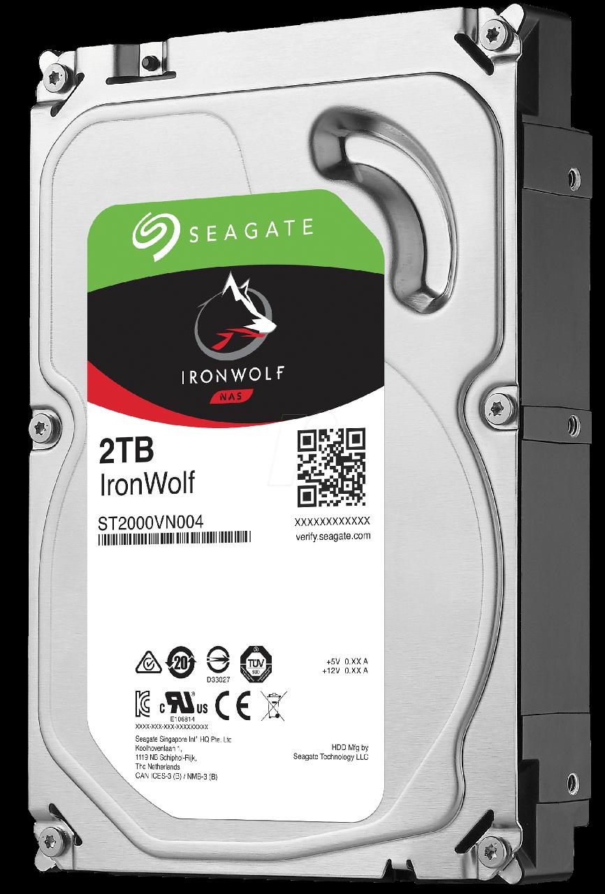 Жесткий диск для компьютера 2 Тб Seagate IronWolf, SATA 3, 64Mb, 5900