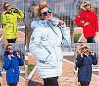 Зимняя женская куртка-парка с мехом №1070 (р.46-52)