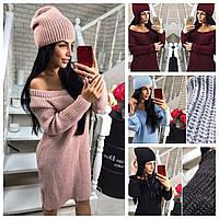 Вязаное платье с шапкой 005 ТВ 5 цветов, фото 1