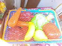 Набор детский с овощами и фруктами в корзинке