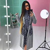 Платье-гольф стильное в модный принт с накидкой ангора разные расцветки SMs1831