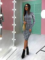 Платье-гольф теплое модное миди ангора в модный принт разные расцветки SMs1832