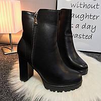 Женские осенние ботинки чёрные на каблуках
