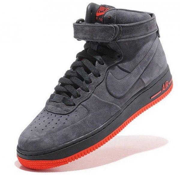 f9671046 Кроссовки Nike Air Force зимние с мехом, цвет серый на красной подошве